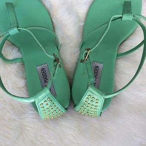 48d636171cf Steve Madden Shoes - Steve Madden Mint Green T Strap Sandals with Gold